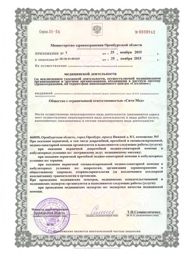 Лицензия СитиМед